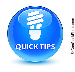 Quick tips (bulb icon) glassy cyan blue round button