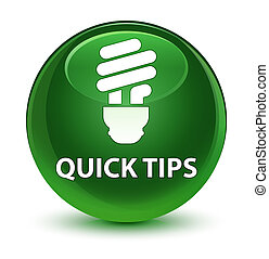 Quick tips (bulb icon) glassy soft green round button