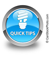 Quick tips (bulb icon) glossy cyan blue round button