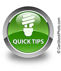 Quick tips (bulb icon) glossy soft green round button