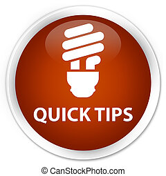 Quick tips (bulb icon) premium brown round button