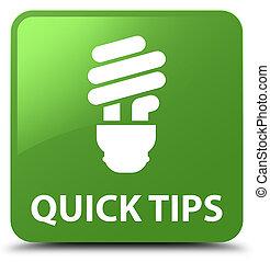 Quick tips (bulb icon) soft green square button
