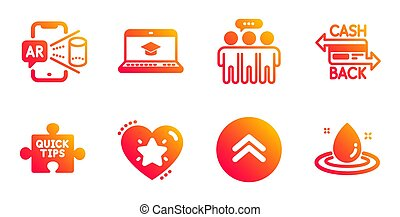 Quick tips, Cashback card and Swipe up icons set. Website ...