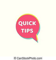 Quick tips - colorful isolated icon for helpful suggestion on a website