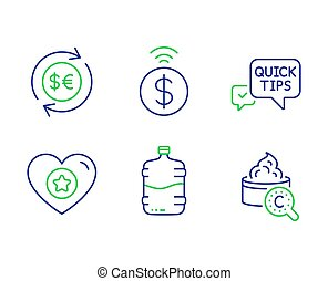 Quick tips, Cooler bottle and Contactless payment icons set....