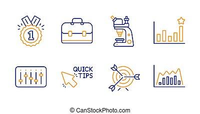 Quick tips, Dj controller and Efficacy icons set. Portfolio,...