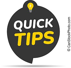 Quick tips icon badge. Top tips advice note icon. Idea bulb education tricks.eps