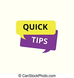 Quick tips - isolated flat icon of purple and yellow speech bubble dialogue