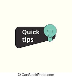Quick tips mark for website with light bulb sign vector illustration isolated.