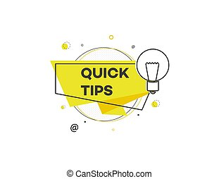 Quick tips - modern geometric sticker icon with light bulb sign