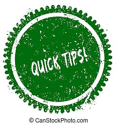 QUICK TIPS round grunge green stamp