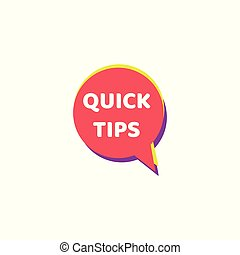 Quick tips - round speech bubble icon isolated on white background