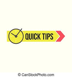 Quick tips sign with clock and arrow for sites and publications vector illustration isolated.