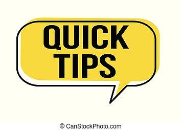 Quick tips speech bubble