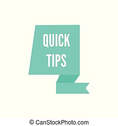 Quick tips - teal blue icon on geometric ribbon shape isolated on white background