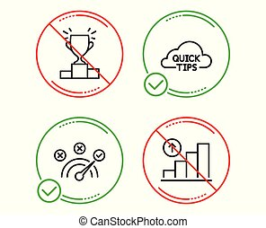 Quick tips, Winner podium and Correct answer icons set. Graph chart sign. Vector