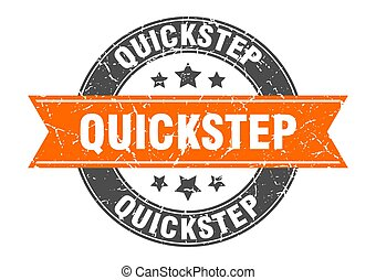 quickstep round stamp with ribbon. label sign