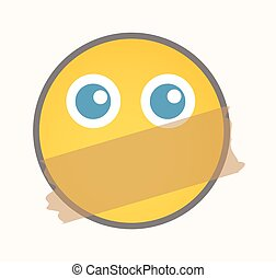Quiet - Cartoon Smiley Vector Face