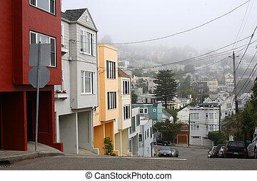 Quiet foggy morning in San Francisco neighborhood next to...