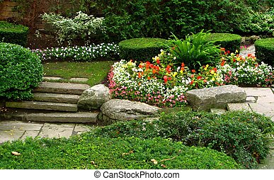 Quiet Garden - A quiet garden with flowers, shrubs and ...