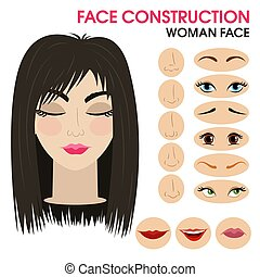 Quiet girl. Woman face constructor. Cartoon style.