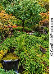 Butchart Gardens - Quiet Japanese garden. Scenic decorative ...