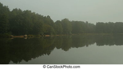 cool fog fell on the river - quiet morning, cool fog fell on...