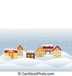 Quiet neighborhood - Snow falling in a quiet neighborhood