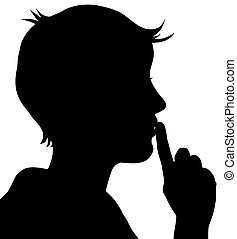 Quiet Please - Illustration of a person with their finger to...