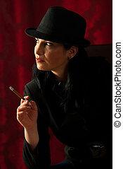 Quiet retro woman waiting