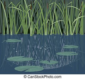 Quiet river nook - Quiet river corner with reeds and water...