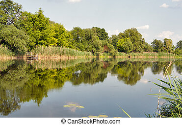 Quiet Ros river in summer, Ukraine
