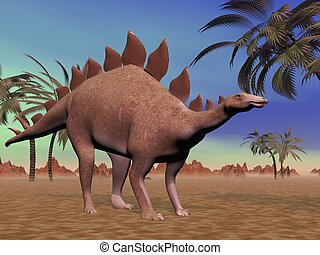 Quiet stegosaurus - Big stegosaurus dinosaur standing in the...