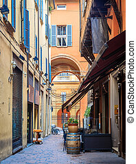 Quiet street in Bologna, Italy