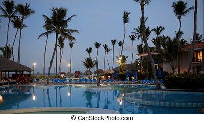 Quiet, summer evening on tropical resort