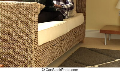 Quiet woman using a laptop lying on sofa at home