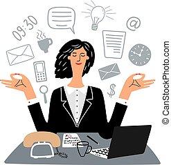 quietamente, mulher, medita, vetorial, local trabalho, secretária