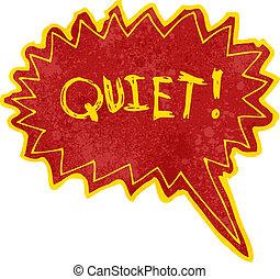 quieto, grito, livro, retro, cômico, caricatura