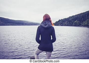 quietude, mulher, lago, admirar