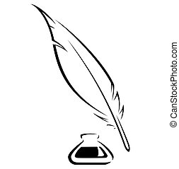 Quill and Ink pot black vector icon - Simple quill and...