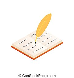 Quill and old book isometric 3d icon on a white background