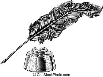 Quill Feather Ink Pen and Inkwell Vintage Woodcut