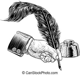Quill Feather Ink Pen Hand Suit Vintage Woodcut