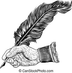 Quill Feather Ink Pen Hand Vintage Woodcut Print