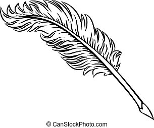 Quill Feather Ink Pen Icon Illustration