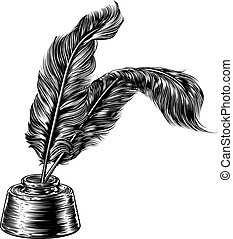 Quill Feather Pens and Inkwell