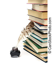 quill in the inkwell and stack of books on a white background
