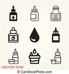 Quill ink icon logo, illustration, vector sign symbol for design