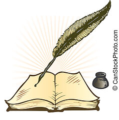Quill Ink Pot and Open Book Vector Illustration with space...