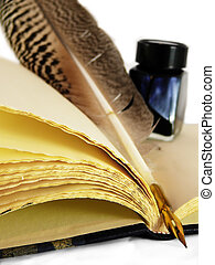 Quill & Inkwell on an book - Quill & Inkwell on an old blank...